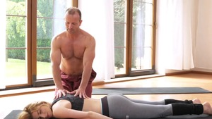 Yoga with shaved caucasian blonde haired