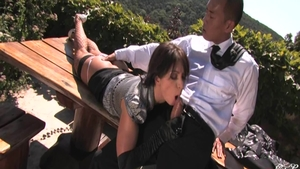Super hot babe Lea Lexis fetish fucked in the ass outdoors