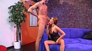 Sex together with shaved caucasian brunette