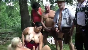 Tattooed german blonde ass pounded outdoors
