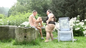Large tits BBW facesitting outdoors