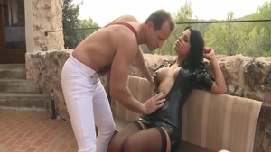 Angel Rivas in her lingerie hardcore cum on face outdoors