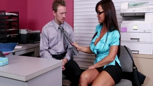 Busty asian housewife Lisa Ann cheating cuckold in office