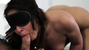 Blindfolded in the company of brunette