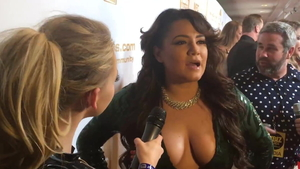 During interview huge boobs american wearing high heels in HD