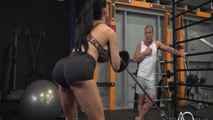 Blowjob in the gym along with big butt MILF Aletta Ocean