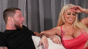 Big tits blonde babe doggy fucks deepthroat on the couch HD