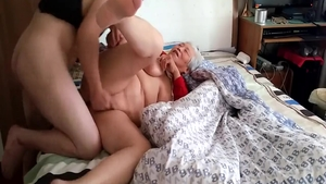 Homemade pussy fucking accompanied by young asian granny