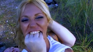Sucking dick outdoors amongst small tits stepmom Ginger Hell