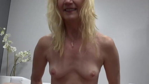 Small tits blonde haired sucking dick at castings