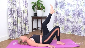 Erotic workout accompanied by shaved girl