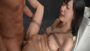 Rough asian kissing in toilet