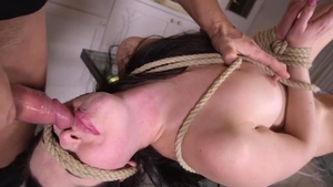Raw hard sex along with brunette Cassie Fire in the kitchen