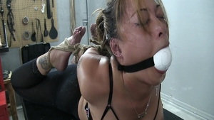 Bound in the company of erotic girl