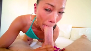 POV nailed rough with petite japanese brunette Lily Ocean