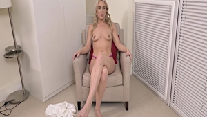 Passionate chick pussy fucking during interview in HD