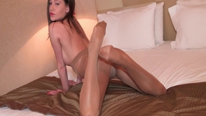 Petite babe wearing pantyhose gets plowed solo