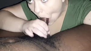Receiving facial in company with amateur