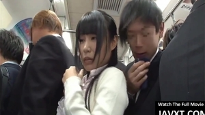 In the bus large boobs asian