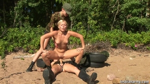 Teen lesbian strapon pussy licking outdoors