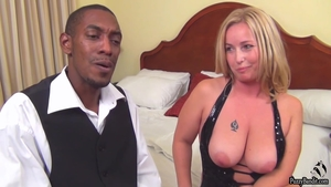 Large tits mature cumshot after interview HD