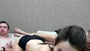 Sex in company with very hot brunette