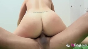 Beautiful inked european amateur cock sucking at the casting