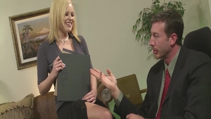 Young & large tits blonde babe hardcore seduce in office