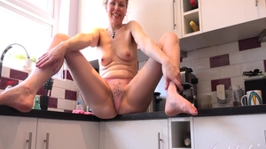 Amazing babe pussy fucking in the kitchen