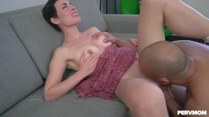 Handjob along with shaved stepmom