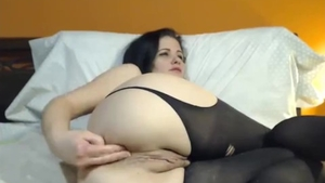 Large tits female takes big dildo