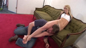 Super sexy blonde babe helps with wrestling HD