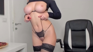 Solo huge boobs amateur smoking in her lingerie