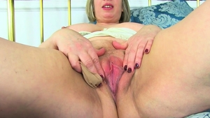 Fingering together with fat blonde hair