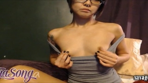 Asian Saya Song wearing glasses squirting on webcam HD