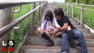 Outdoors hairy asian in stockings in HD