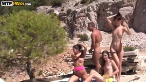 Group sex outdoors together with babe