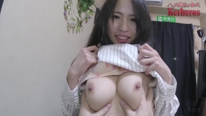 Huge tits japanese brunette helps with hard nailining HD