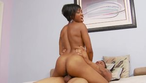 Interracial fuck on the couch