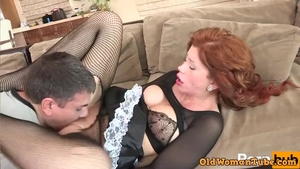 Dick sucking alongside big ass redhead wearing uniform