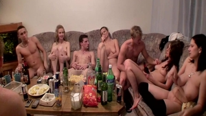 Small boobs blonde hair rough orgy at the party
