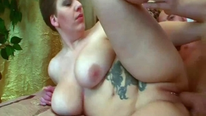 Hard slamming in company with large boobs russian babe