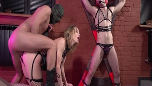 Blonde Loren Strawberry rushes bondage in lingerie
