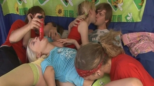 Orgy at the party among skinny blonde