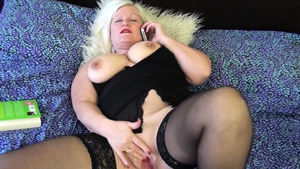 Granny Lacey Starr in stockings sex with toys