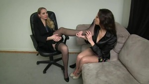 Lesbians footjob foot fetish having sex